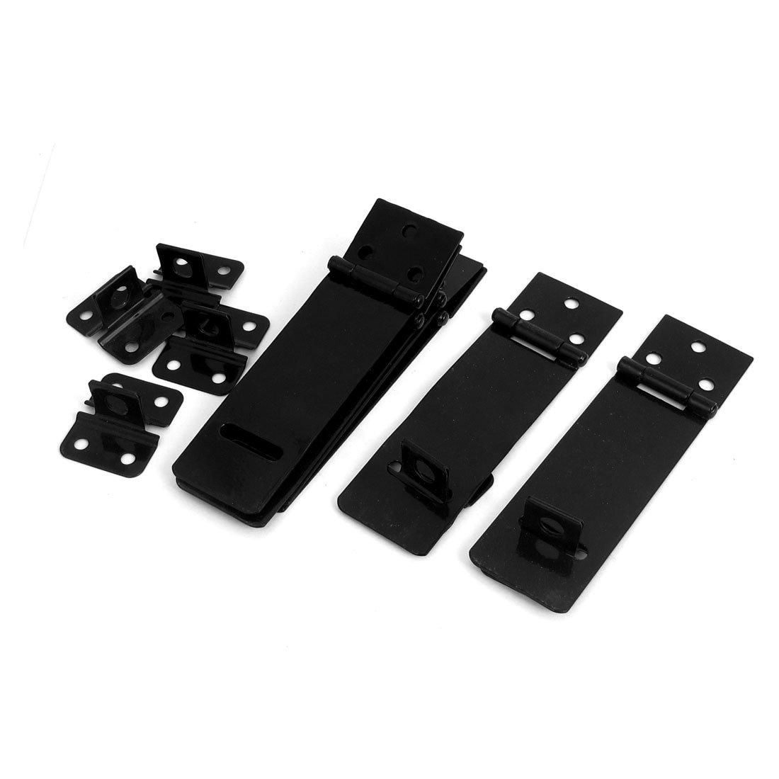 uxcell 6 Set Door Safety Lock Black Metal Padlock Hasp Staple 117mm Long