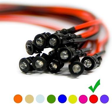 10 x LED Verkabelte Dioden Plastik Halterung Wired Warm Weiß Klare Linse 6V 5mm