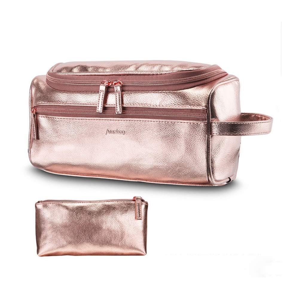 Organizer Bag Women's New Travel Storage Wash Bag Hanging Wash Bag Finishing Makeup Wash Bag PU Leather Storage Bag YJXUSHYQ (Color : Gold, Size : Free Size) by YJXUSHYQ