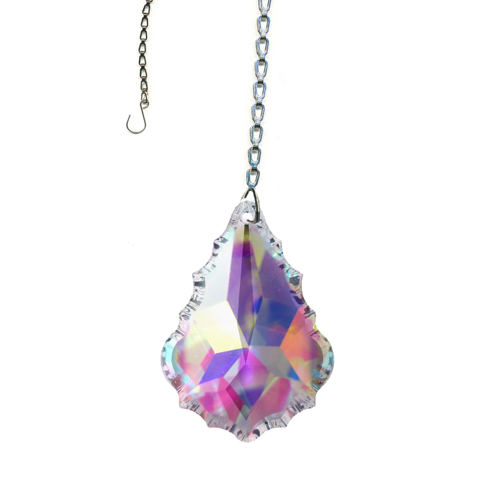 Swarovski crystal Sun Catcher, 2 Inches AB Pendaloque Crystal with Amazing Shine & Rainbow Includes Chain & Suction Cup
