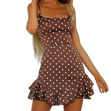 9207e50acd32 Creazrise Womens Sleeveless Strappy Beach Short Dress Casual Back Bow Dot  Print Swing Dress (Coffee