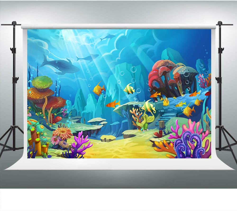VVM 7x5ft Underwater World Backdrop Cartoon Colorful Sea Photography Backdrop for Pictures Party Decoration XCVV022