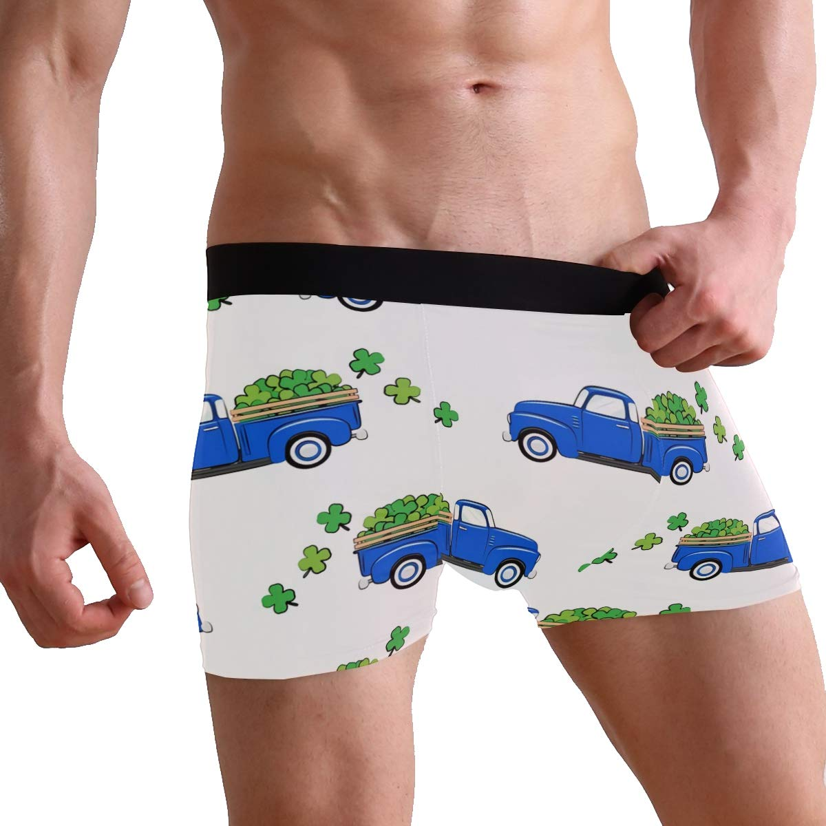 Vintage Truck with Shamrocks Boxer Briefs Mens Underwear Pack Seamless Comfort Soft