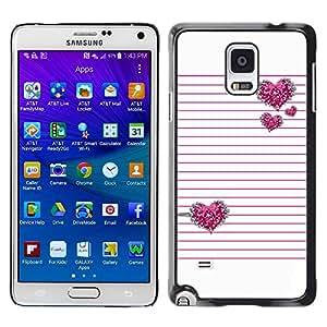 rígido protector delgado Shell Prima Delgada Casa Carcasa Funda Case Bandera Cover Armor para Samsung Galaxy Note 4 SM-N910F SM-N910K SM-N910C SM-N910W8 SM-N910U SM-N910 /Pink Lines Heart Glitter Love White/ STRONG