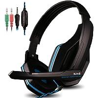AFUNTA Auriculares para Juegos para PS4 PC, Teléfono con Micrófono, 3.5mm Jack Juego de Auriculares para Tableta Portátil Teléfonos Móviles MP3 MP4