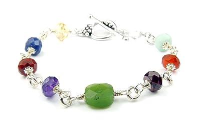 DAMALI 7 Chakra Handmade Sterling Silver Quartz Gemstone Healing CrystalTherapyYoga Reiki Meditation Bracelet QQmYwX