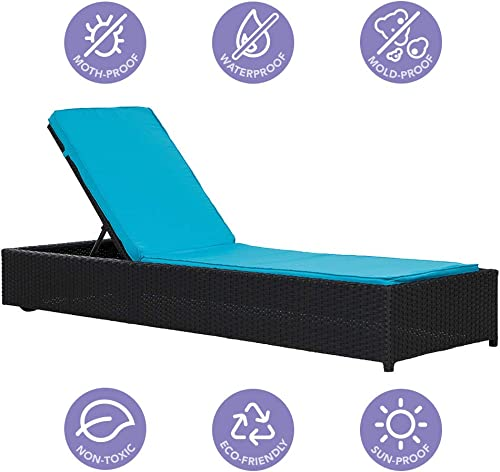 Casa AndreaMilano Outdoor Patio Lounge Adjustable Chaise Long Rattan Chair Black Blue