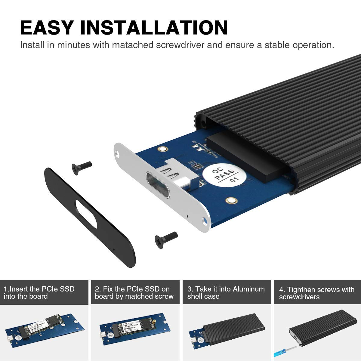 Cool Belle M.2 NVMe Chassis USB C 3.1-C Gen 2 to M2 M-Key SSD ...