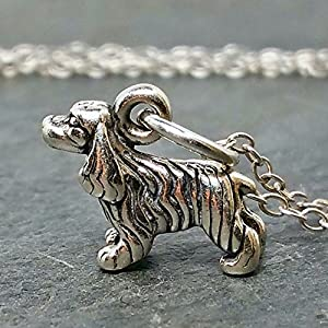 "Tiny Cocker Spaniel Charm Necklace - 925 Sterling Silver, 18"" 1"