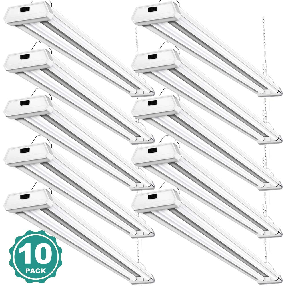 10 Pack 42W Linkable LED Utility Shop Light Addlon 4ft 48 Inch 5000K Led Garage Ceiling Lighting, 300W Equivalent Double Integrated Florescent Light Fixture with Pull Chain Mounting