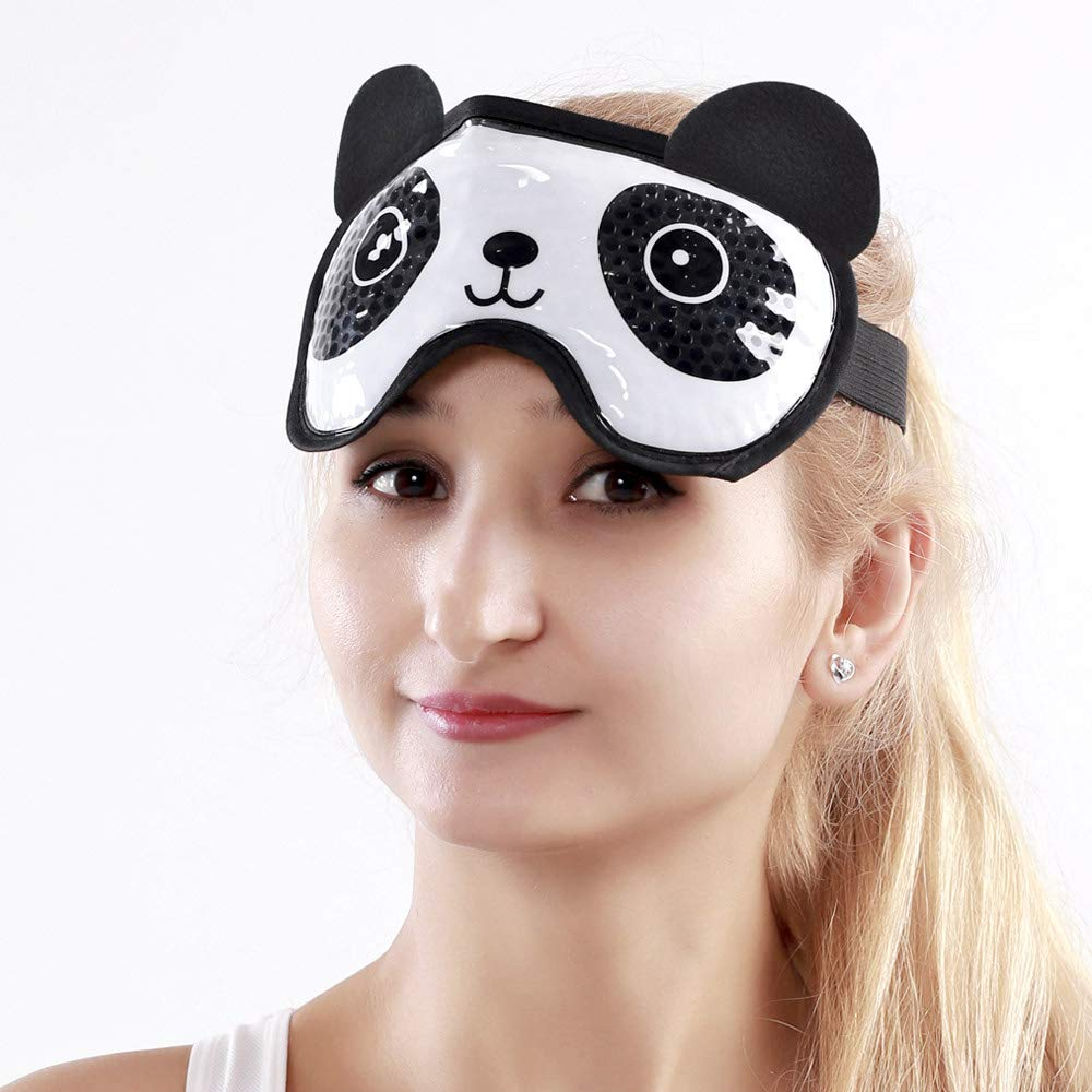 Eye Cooling Mask Gel Bead Eye Mask Reusable Cute Eye Mask with Soft Plush, Frozen Sleep Mask Cold Therapy for Women and Men - Panda