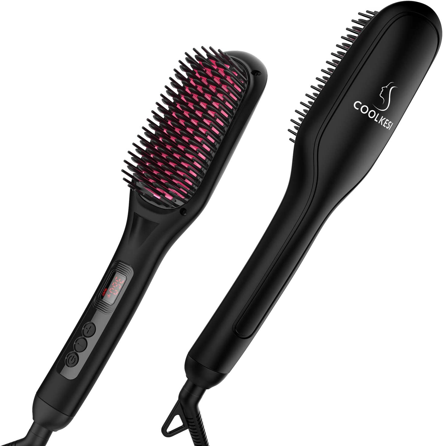 Ionic Hair Straightener Brush by COOLKESI, 30s Fast MCH Ceramic Heating Hair Straightening Brush with Anti Scald Feature, Auto Off & Dual Voltage,