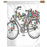 HUANGLING Ivy Rainbow Colored Like Roses Wrapped Around A Sketchy Hand Drawn Bike Home Flag Garden Flag Demonstrations Flag Family Party Flag Match Flag 27''x37''