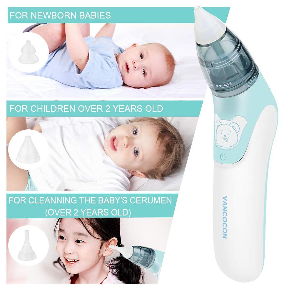 elektrisch Nasal Aspirator und Ohrenreiniger,Lebensmittelqualit/ät Weiches Silikon Waschbar Wiederverwendbar Schnell den Nasenschleim des Babys entfernen Nasensauger f/ür Kinder Baby Nasensauger