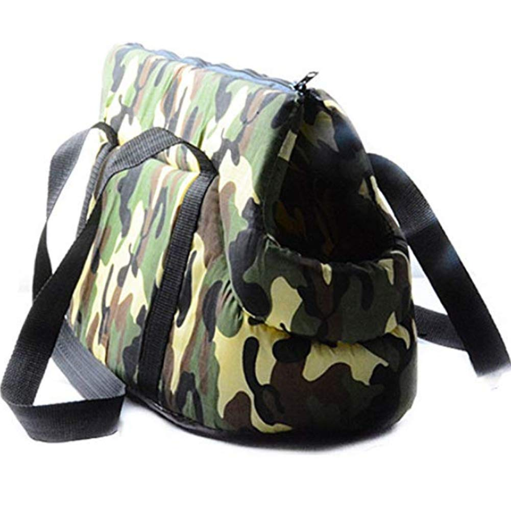 Pet Purse Carrier, Tote Purse Pouch Shoulder Soft Bag, Dog Canvas Carrier Bag, Foldable Washable Travel Carrying for Small Medium Pets,Green,L