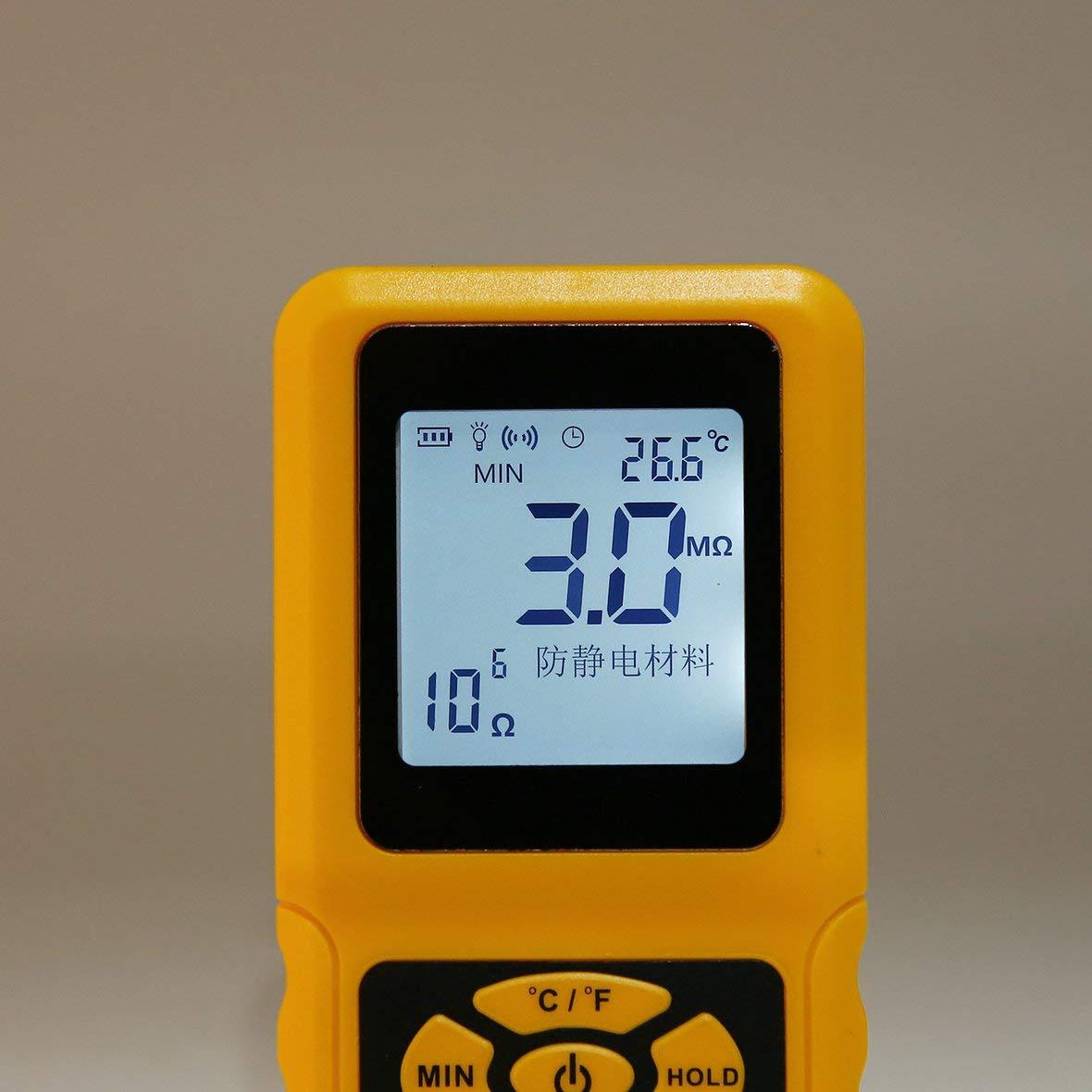 Heaviesk Indicateur de r/ésistance AS982 Testeur de mesureur de r/ésistance de Surface Portable Indicateur de r/ésistance de Terre Portable Donn/ées Tenant la Fonction Affichage LCD