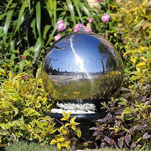 Köhko 30 cm Kugelbrunnen 21003 aus Edelstahl mit LED-Beleuchtung