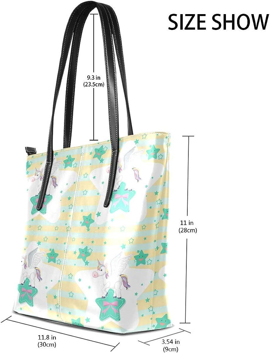 Cartoon Unicorn Star Leisure Fashion PU Leather Handbag for Women Large Tote Bag Shoulder Bag for Gym Beach Travel Daily Bags