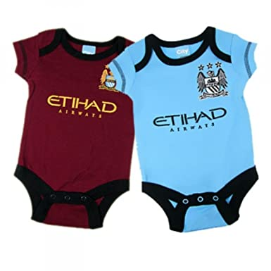 1f16b52dad3 2 PACK MANCHESTER CITY FC FOOTBALL CLUB NEWBORN BABY BODYSUITS   VESTS SET  HOME   AWAY KIT AUTHENTIC  Amazon.co.uk  Clothing