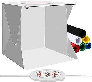 TREKOO Mini Portable Photo Studio Box, Small Foldable Photography Light Shooting Tent Kit with Top Hole, Adjustable Brightness LED Strips and 6 Color Backdrops