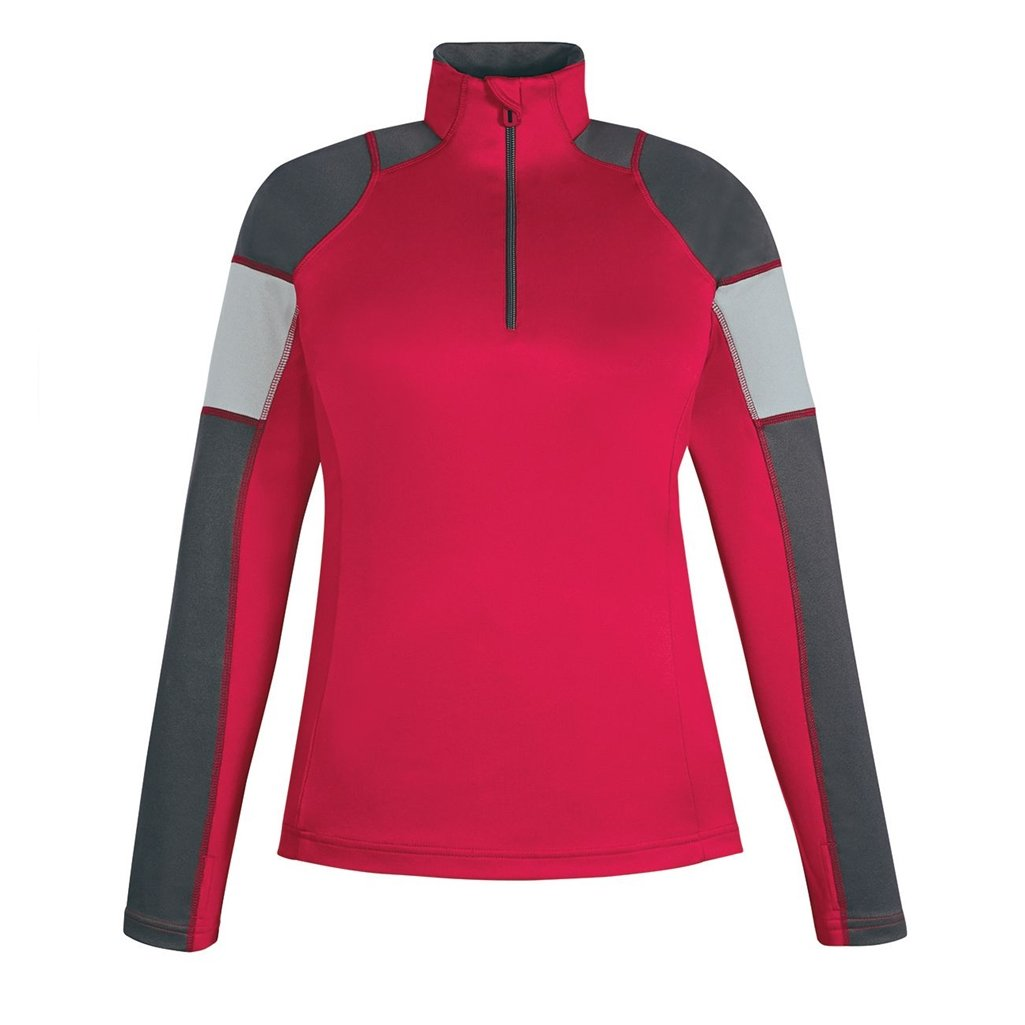 Ash City Apparel North End Quick Ladies Performance Interlock Half-Zip (Large, Classic Red/Carbon/Platinum) by Ash City Apparel