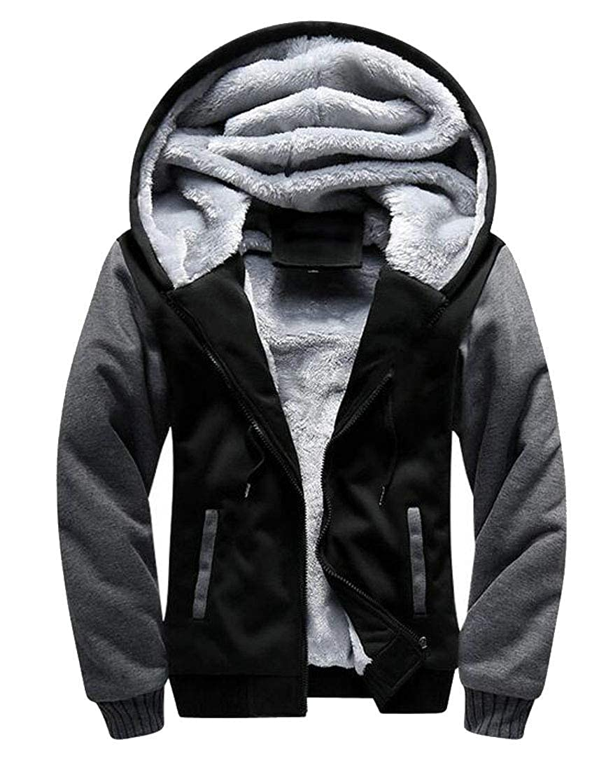 Joe Wenko Mens Plus Size Spell Color Zip Up Fleece Lined Hoodies Winter Jacket Sweatshirts