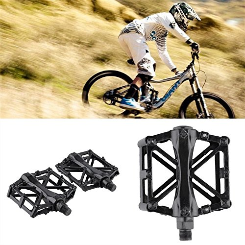 Pair Aluminum Alloy Flat Platform Bicycle Cycling Riding Pedals Treadle by CLKJYF