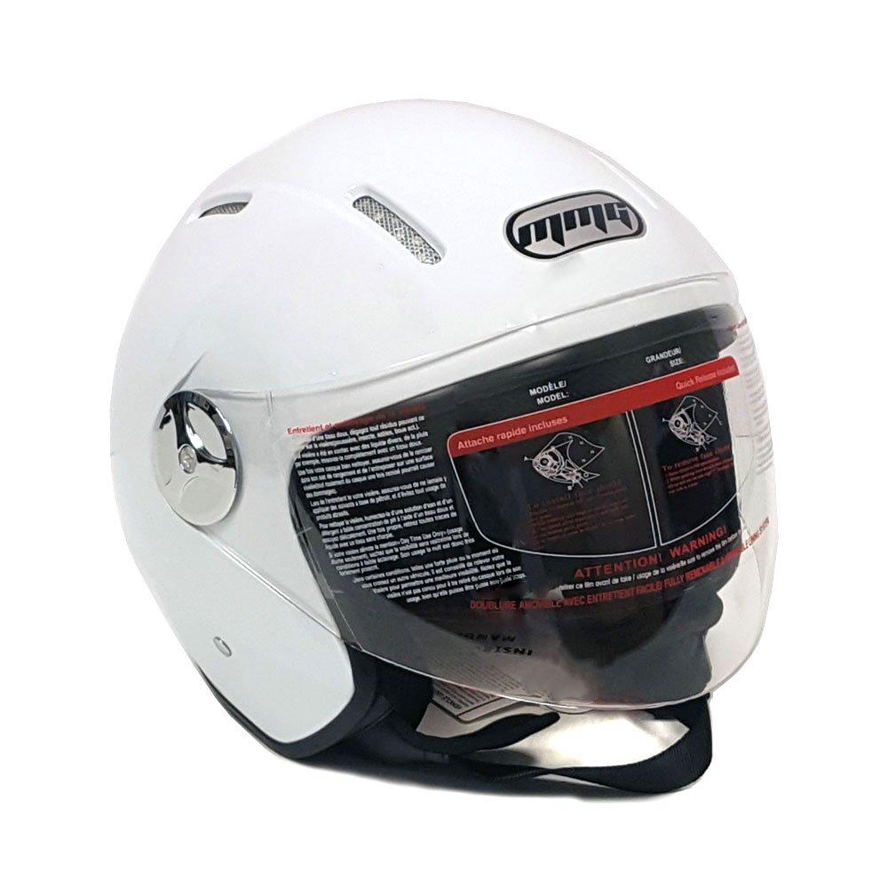 MMG 51 Motorcycle Scooter Open Face Helmet Pilot Flip Up Visor DOT, White Glossy Finish, Large by MMG