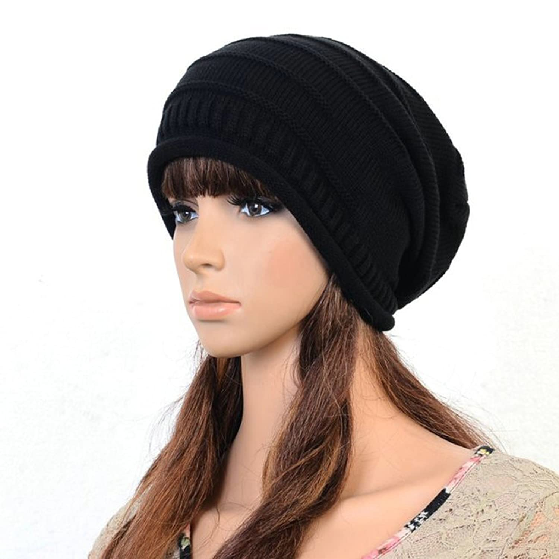 WLM Unisex Winter Plicate Baggy Beanie Knit Crochet Ski Hat Oversized Slouch Cap Skimützen Kappe(Multi-Color)