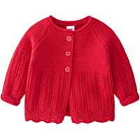 Feidoog Knitted Baby Girls Cardigan Sweater Toddler Knit Button up Cardigan Sweater Outwear