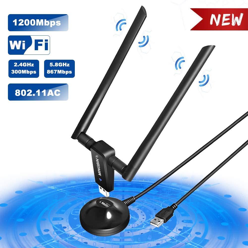 MingBin Clé WiFi,1200Mbps USB 3.0 WiFi Adaptateurs de réseau Longue Portée, Adaptateur WiFi 5dBi avec 2 Antenne Double Bande (2.4G/300Mbps+5G/867Mbps),Dongle WiFi pour PC à Windows 10/8/7 / XP product image