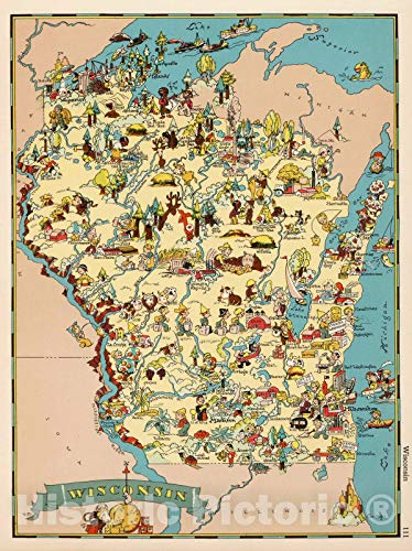 Historic Map, Wisconsin. 1935 | Vintage Wall Art | 18in x 24in