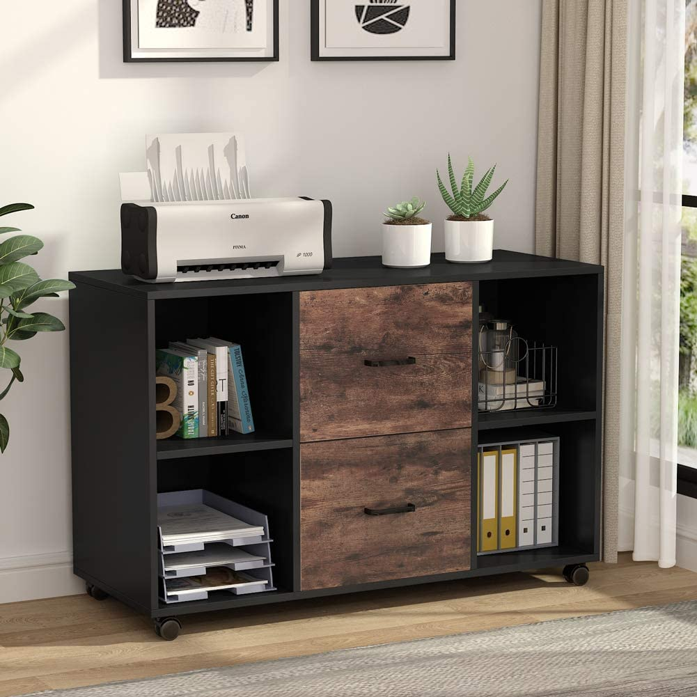 Letter//Legal//A4 Size Black Large Modern Mobile Lateral Filing Cabinet Printer Stand with Wheels and Storage Shelves for Home Office Tribesigns File Cabinet with Lock and Drawer