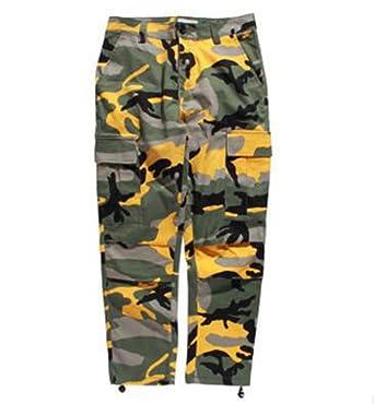 19f738e86052 NiSeng Femme Imprimé Camo Pantalon Cargo Pantalon Multi-Poches Casual  Pantalon 1 Jaune XS