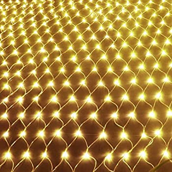 Amazon commercial grade christmas led net light set 4 x 6 led string lights net mesh lights 98ft x 66ft 204 dimmable with remote control tree wrap with 8 modes for wedding christmas outdoor garden warm white aloadofball Gallery