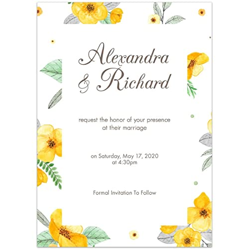 Amazon yellow flower border save the date wedding invitations yellow flower border save the date wedding invitations mightylinksfo