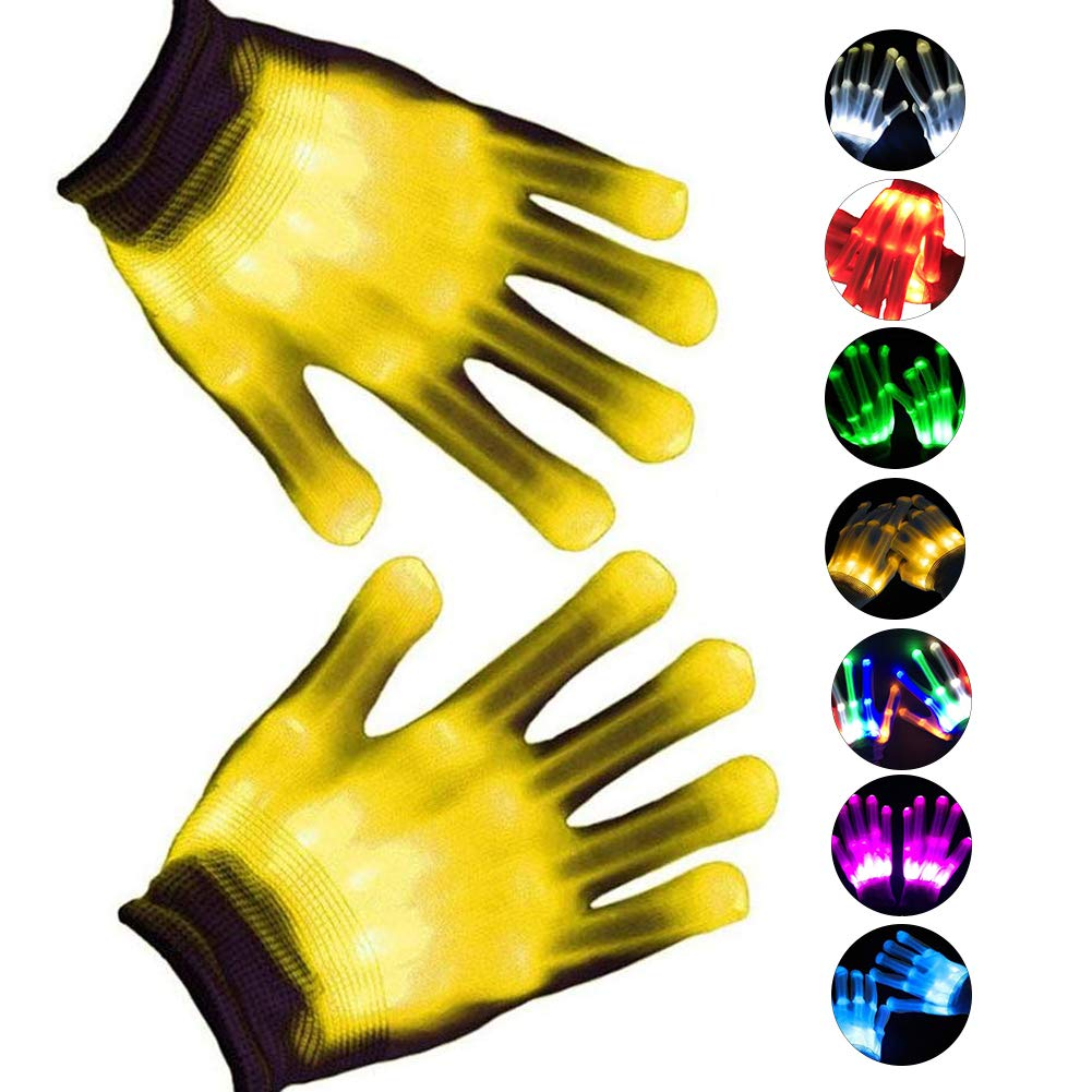 WSJDPP Colorful Glitter Gloves Halloween Cosplay Props LED Multicolor Gloves Cool Fun Toys for Raves Festivals Halloween Bonfire Night Party Games Clubs,Yellow by WSJDPP