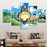 [LARGE] Premium Quality Canvas Printed Wall Art Poster 5 Pieces / 5 Pannel Wall Decor Miyazaki Hayao Totoro Painting, Home Decor Pictures - With Wooden Frame