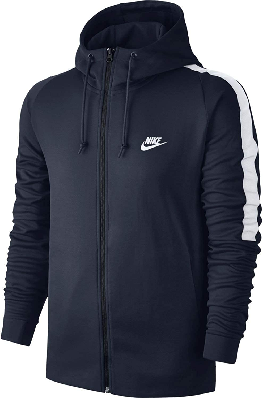 Nike Mens N98 Tribute Hooded Track Jacket Obsidian Blue/White 861650-451 Size X-Large