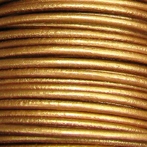 Dreambell Natural Round Leather BEAD STRINGING CORD 2mm Metallic Bronze 2 Yards/Findings