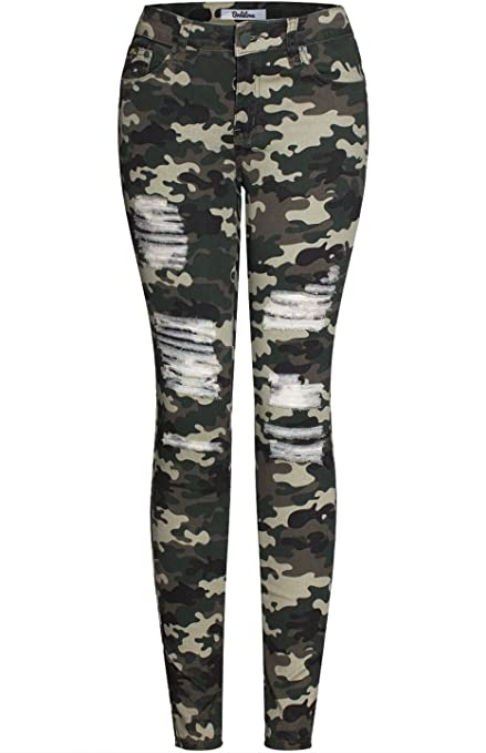 2LUV Women's Stretchy 5 Pocket - cute camouflage pants