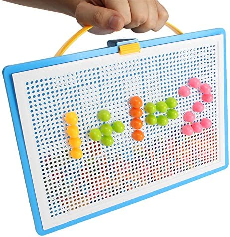 296Pegs Portable Mosaic Nail Puzzle Peg Board For Kids Children Educational Toys