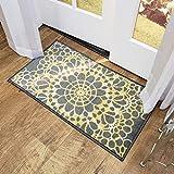 Cheap Maxy Home Adaline Medallion Soft Cut Pile Non Slip 18″ x 31″ New Trend Indoor Door Mat, Grey Yellow