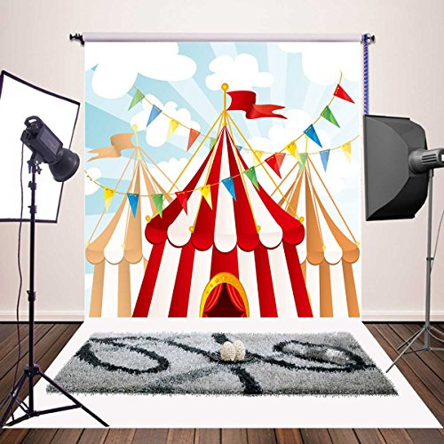 Botong Circus Carnival Party Vinyl Photography Backdrop for Baby Kids Birthday Decoration Customized Photo Background Photo Studio Prop BT112-5x5FT