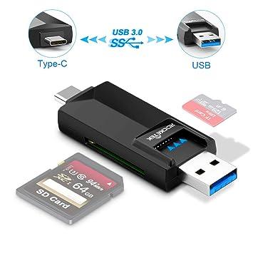 Rocketek - MicroSD, lector de tarjetas SD/ escritor. Ambos conectores de tipo C y USB son USB 3.0 con velocidades de transferencia en llamas para ...