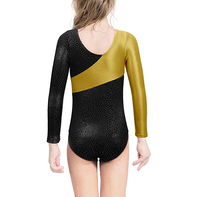 Kidsparadisy Long Sleeve Gymnastics Leotards for Girls Sparkly Dance Practice Costume