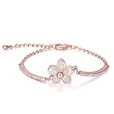 JDGEMSTONE Cute Bowknot Cuff Bracelet 18K Rose Gold Plated Charm Zirconia Bracelet Gift for Women XuqurS