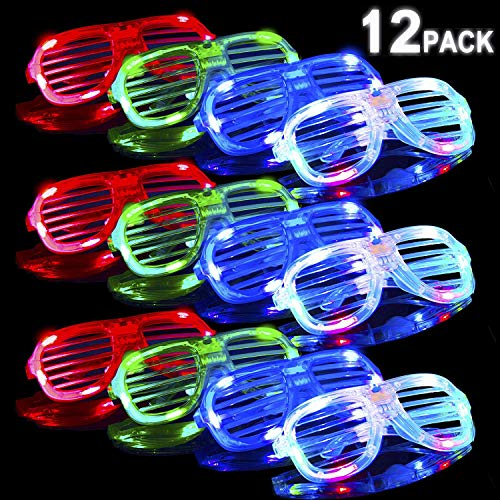 POKONBOY 12 Pack LED Glasses Glow in The Dark Party Supplies, Light Up Glasses Toys Neon Party Supplies Party Favors ( Random Color )]()