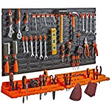 garage tool storage ideas  50 Piece Wall Mounted Plastic Pegboard and Shelf Tool Organizer - DIY Garage Storage Wall Mount System with Rack and 50 Assorted Hook Accessories - Tool, Parts and Craft Organizer
