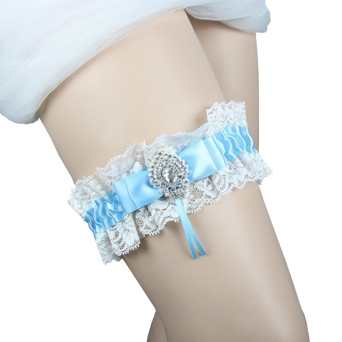 Kirmoo Vintage Lace Satin Bridal Garter Something Blue Wedding Garter White with Rhinestones (One Size Fit All)